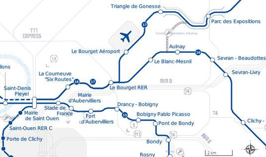 Plan de la ligne 17 du métro
