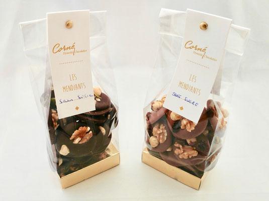 Mendiants sans sucre - chocolat - Corné Dynastie - chocolat sans sucre