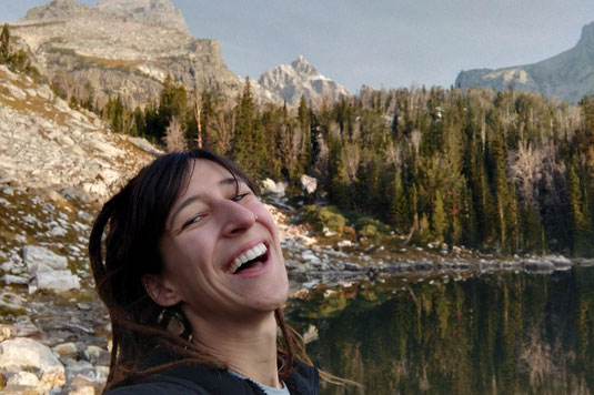 Surprise Lake, hiker, Grand Teton National Park, lakes, Wyoming, lonelyroadlover