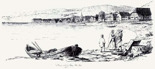 Grève du lac de Joux en 1853 par un dessinateur inconnu  (Collection Daniel Lehmann)