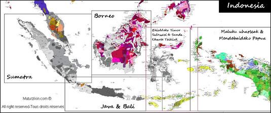 Carte des langues en Indonésie, le bahasa indonesia et langues régionales.