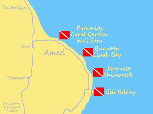 La carte des sites de plongée d'Amed, Jemeluk, Bunutan, Lipah, épave Japonaise, Bali.
