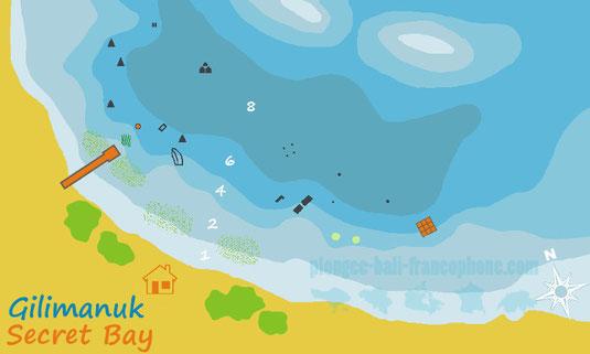 La carte du site de plongée Secret Bay à Gilimanuk, Bali.