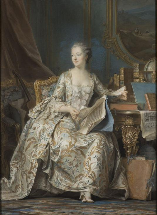 Portrait de la marquise de Pompadour assise 1748-1755 par Maurice Quentin De La Tour, portrait conservé au Louvre