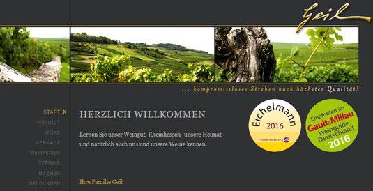 """Startseite der Homepage des Weinguts """"Geil"""""""