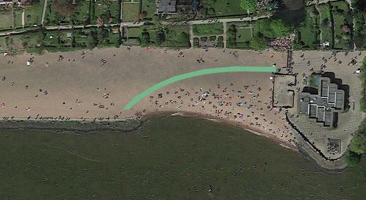 Mögliche Streckenführung vom Lüfterbauwerk zum schmalen Pfad an der Uferböschung