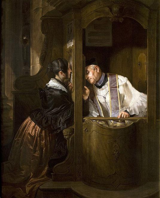 La confessione, Giuseppe Molteni, 1838