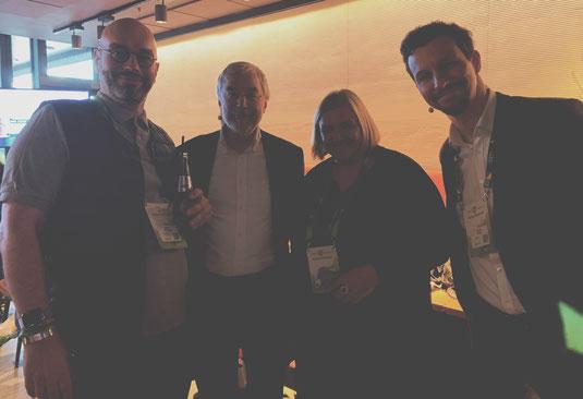 Markus Stelzmann, Gerald Hüther, Kerstin Heuer bei der XING New Work Experience in der Elbphilharmonie Hamburg, Futurepreneur