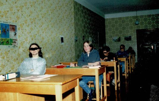 """Der Studiersaal der """"Großen"""" (ab 9. Klasse).  Studierzeit war 15-16 Uhr, 16.45-18.30 Uhr und wer Schulaufgabe hatte oder schlechte Noten musste abends nochmal ran."""