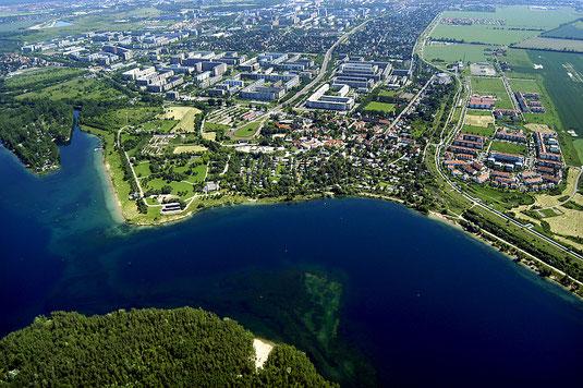 Luftbild auf Kulkwitzer See und Leipzig-Grünau