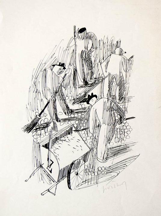 Hans Potthof Zeichnung Strassenarbeiter