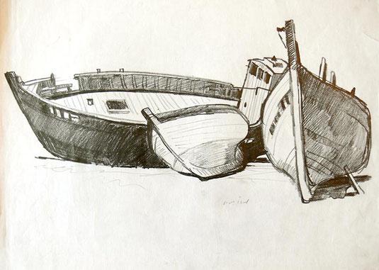 Hans Potthof Zeichnung drei Boote