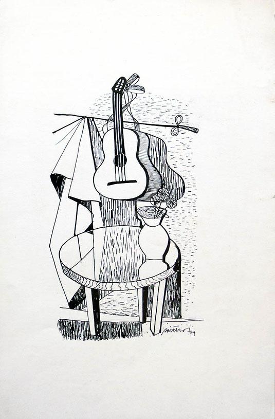 Hans Potthof Zeichnung Tuschfeder Stilleben 1939