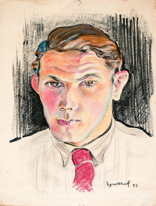 Hans Potthof Zeichnung Selbstbildnis 1932