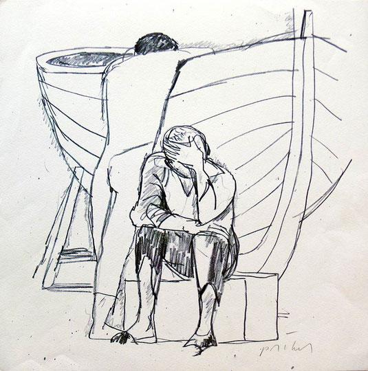 Hans Potthof Zeichnung Fischer