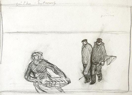Hans Potthof Zeichnung Muschelsammler