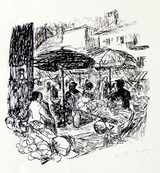 Hans Potthof Zeichnung Markt in Paris 1938