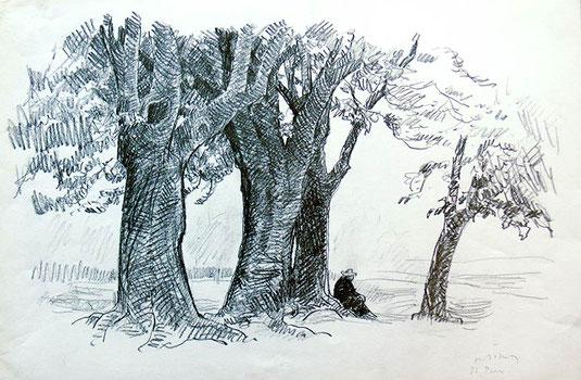 Hans Potthof Zeichnung Rast bei St. Prex