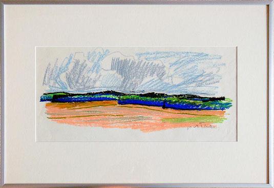 Hans Potthof Zeichnung Ölkreide Landschaft