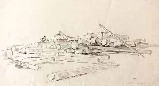 Hans Potthof Zeichnung Holzer