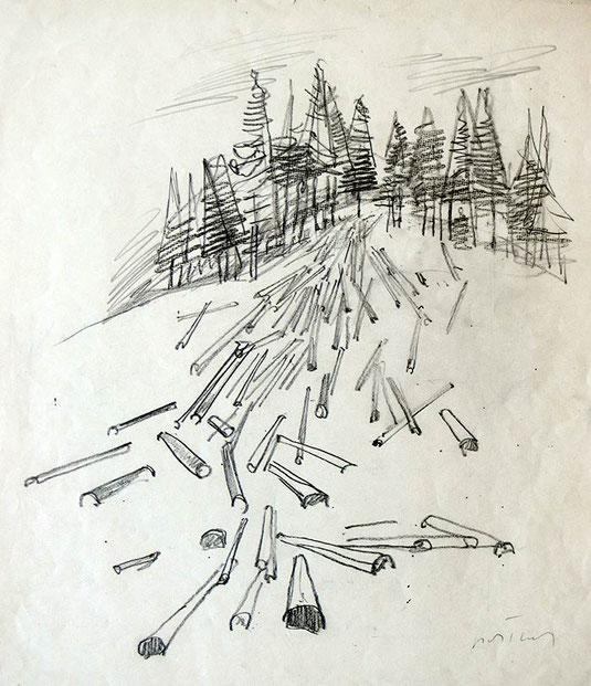 Hans Potthof Zeichnung Holzen am Zugerberg