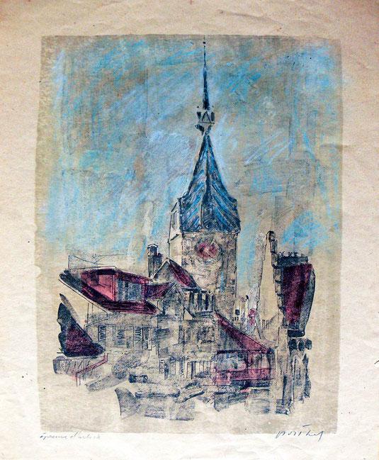 Original Lithografie von Hans Potthof - Zuger Altstadt mit Zytturm