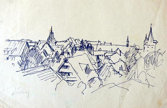 Hans Potthof Zeichnung Stadt Zug