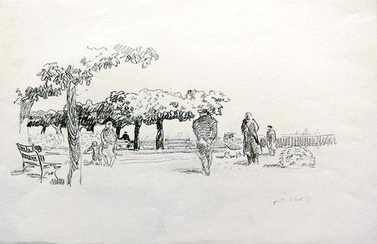 Hans Potthof Zeichnung Spaziergang am See