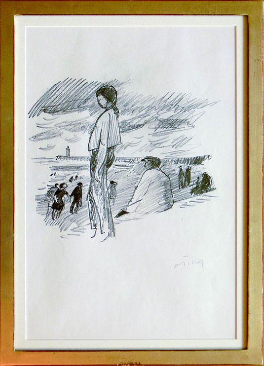 Hans Potthof Zeichnung Stehende Frau