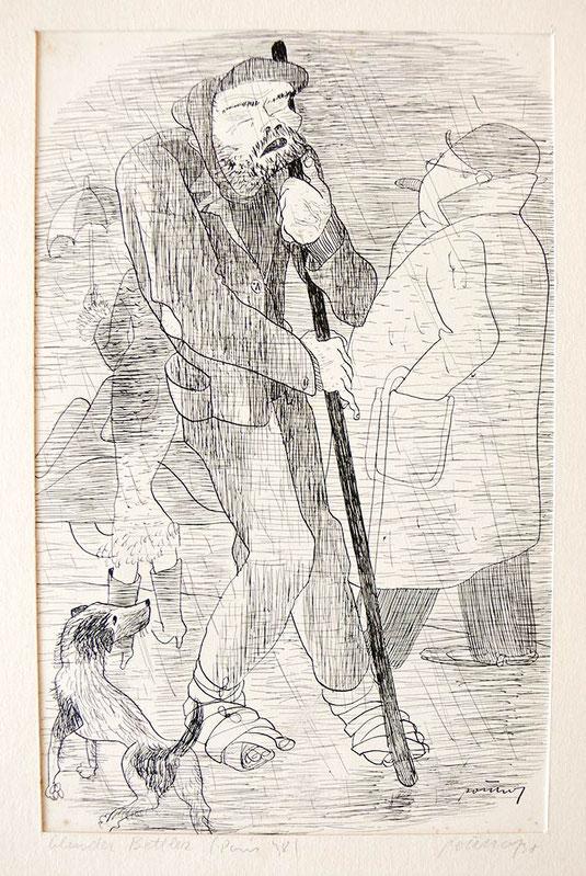 Hans Potthof Zeichnung Blinder Bettler