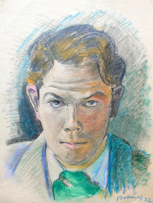 Hans Potthof Zeichnung Selbstbildnis 2 1932