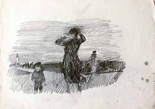 Hans Potthof Zeichnung Fécamp