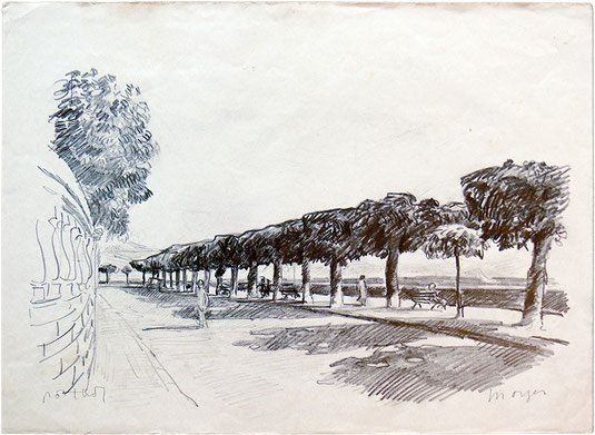 Hans Potthof Zeichnung Morges am Genfersee