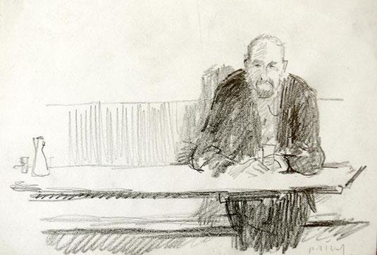 Hans Potthof Zeichnung Der Einsame