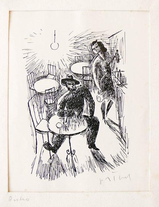 Hans Potthof Zeichnung Bistro