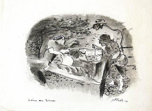 Hans Potthof Zeichnung Frauen am Brunnen