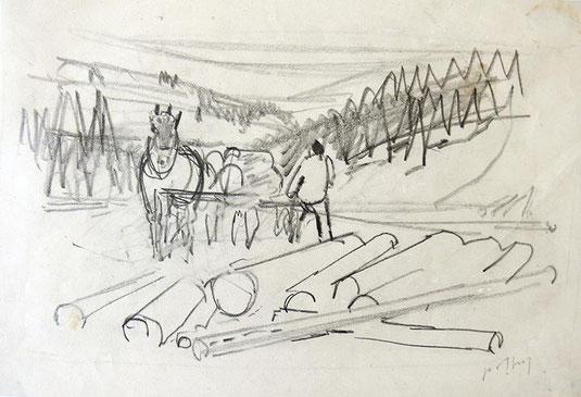 Hans Potthof Zeichnung Holzer mit Pferd
