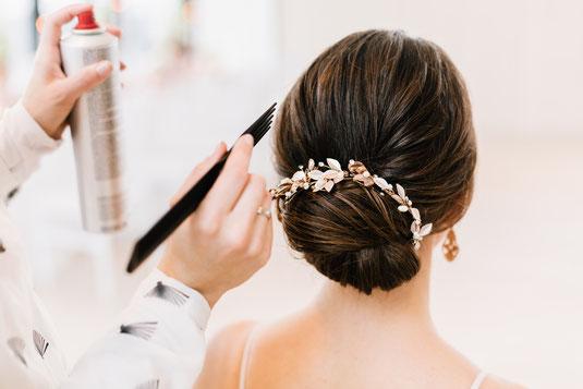 Hair- und Make-up Artist stylistin Braut make-up Headpiece Brautfrisur