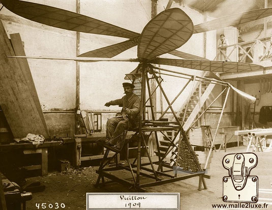 Helicopter designed by Jean and Pierre Vuitton in 1908, built in 1909 - Vuitton-Hubert