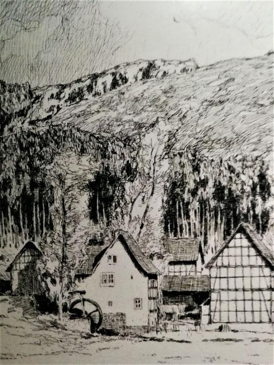 Otto Ubbelohde: Mühle in Oberrosphe (Ausschnitt). Vorlage für das Monatsbild Mai der Hessen-Kunst 1918, Tuschefeder über Bleistift auf Zeichenpapier