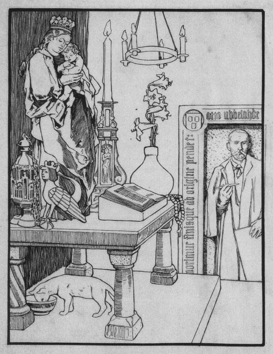"""""""Katze und Maus in Gesellschaft"""" (um 1903), Entwurf für eine Illustration des Grimmschen Märchens KHM 2 (nicht verwendet)"""