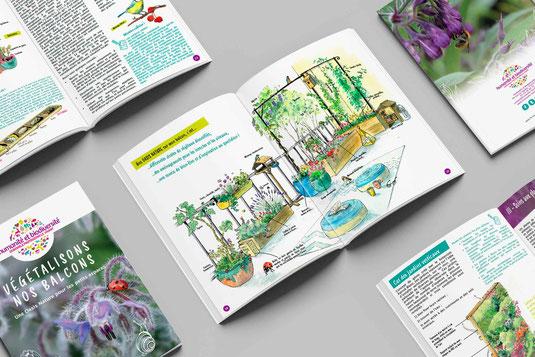 biodiversité, balcon, livret pédagogique, illustration, conception graphique, Humanité et Biodiversité, Atelier Nature et Territoires, nature, aquarelle