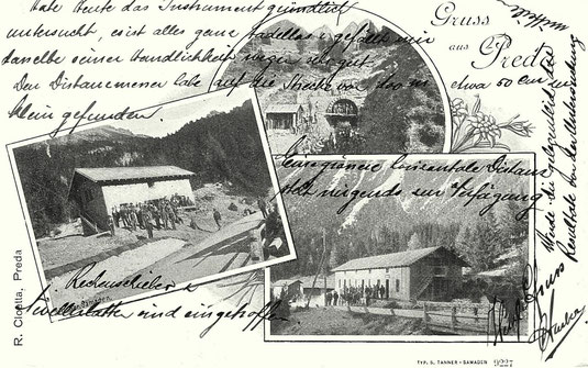 R. Cloetta Preda, Verlag Simon Tanner Samedan, gestempelt 28. Juni 1904