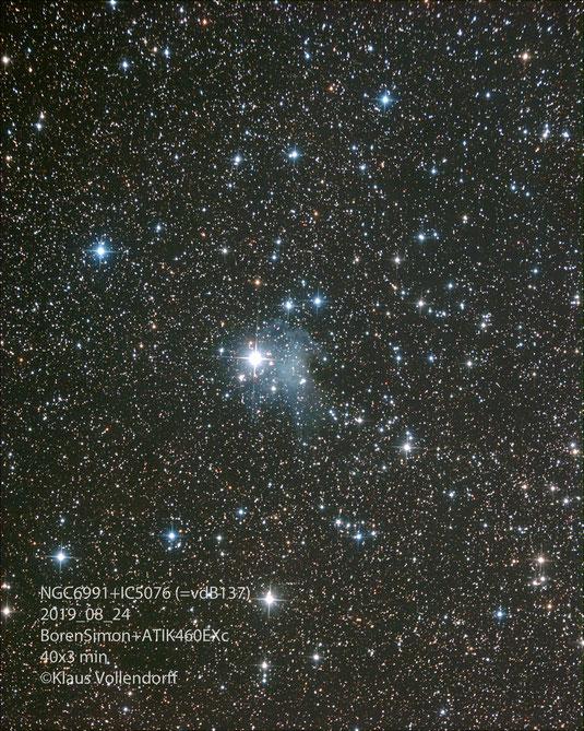 """Reflexionsnebel IC5076 mit offenem Sternhaufen NGC6991 im Sternbild Cygnus (Schwan) mit 8"""" f3.6, ATIK460EXc+LPS-D1"""