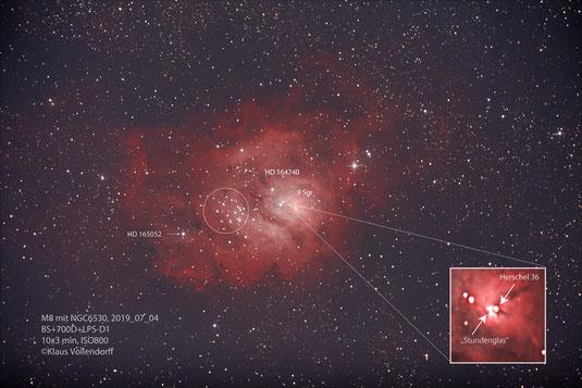 """M8 Lagunennebel und NGC6530 im Sternbild Sagittarius (Schütze) mit 8"""" f3.6, ATIK 460EXc+LPS-D1"""