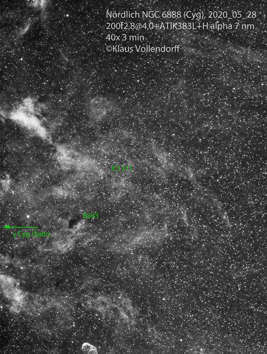 Nördlich von NGC6888 im Sternbild Cygnus (Schwan) mit Dunkelnebel B343 und offenem Sternhaufen IC1311, CANON 200 f2.8+ATIK383L+Hα 7 nm