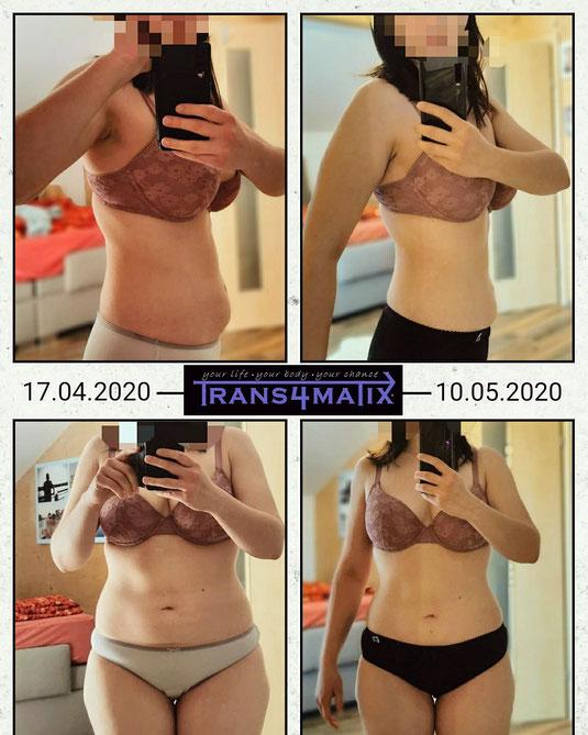 Unsere Mädels vom T4X Online Bodywork Kurs haben nach nur einem Monat schon gut sichtbare Erfolge