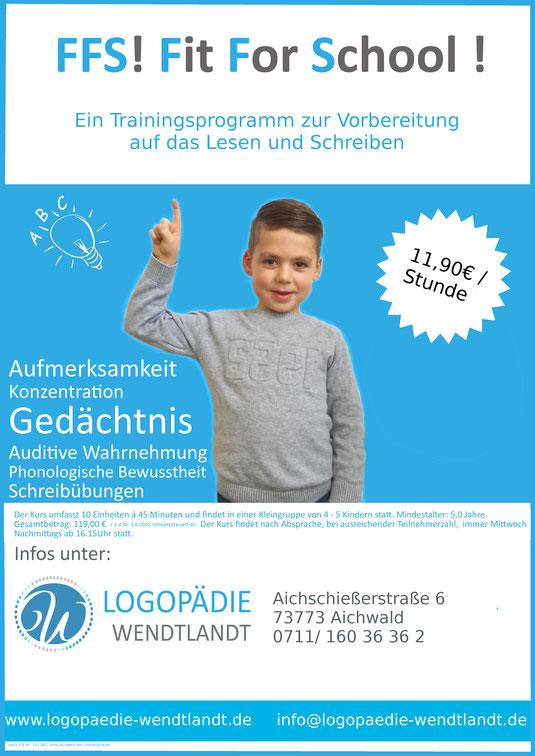 Fit For School Logopädie Wendtlandt Aichwald Schule Einschulung Kurs Sprache Konzentration Aufmerksamkeit Phonologische Bewusstheit Auditive Wahrnehmung Esslingen