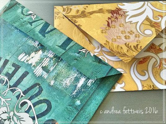 Gemusterte Briefumschläge mit unterschiedlichen Verschließformen