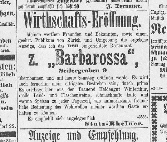 Inserat im Tagblatt der Stadt Zürich vom 9. Juli 1892